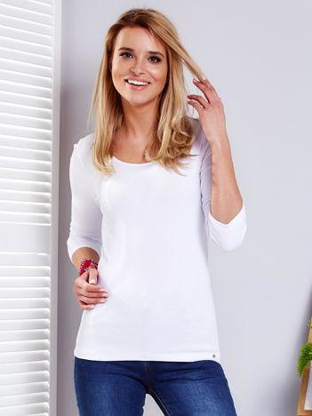 Biała prążkowana bluzka ze sznurowaniem z tyłu