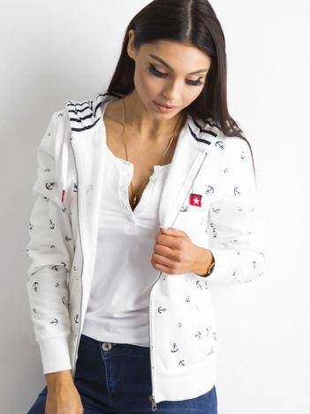 Biała rozpinana bluza z nadrukiem