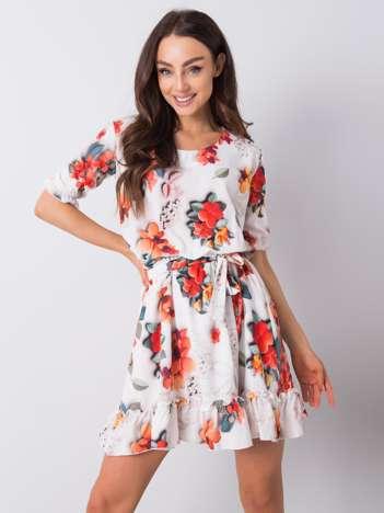 Biała sukienka w kwiaty Sophie