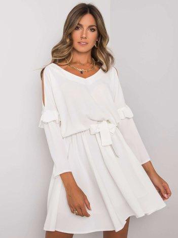 Biała sukienka z wiązaniem Aleah RUE PARIS