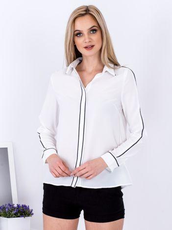 Biała szyfonowa koszula z ciemną lamówką