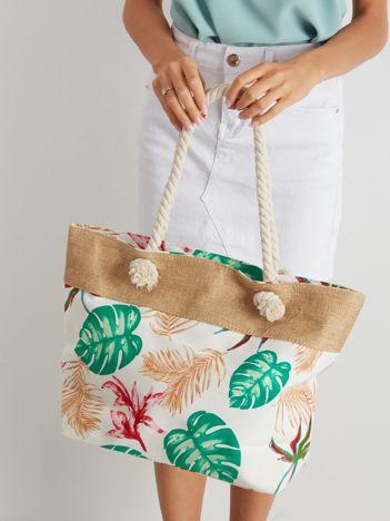 Biała torba z tropikalnym nadrukiem