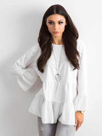Biała tunika damska z falbaną