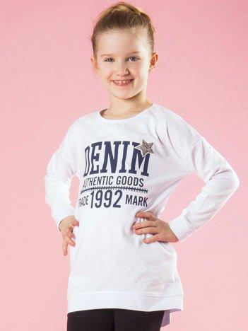 Biała tunika dziewczęca z nadrukiem