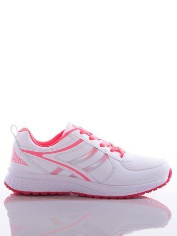 Białe buty sportowe na sprężystej podeszwie z neofuksjowymi wstawkami