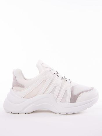 Białe buty sportowe z elastyczną podeszwą  wstawkami z ekoskóry i kolorowymi sznurówkami