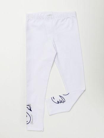 Białe legginsy dla dziewczynki z aplikacją