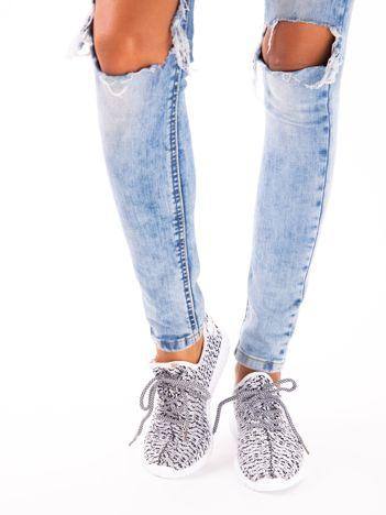 ba84d553ecf7f Białe marmurkowe buty sportowe pattern z tkaniny z uchwytem z tyłu