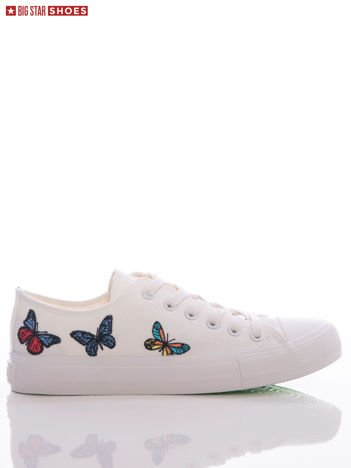 Białe trampki Big Star z haftowanymi motylkami na boku cholewki