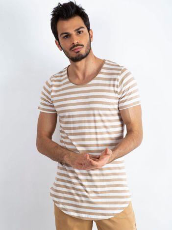 Biało-beżowy t-shirt męski Motivated