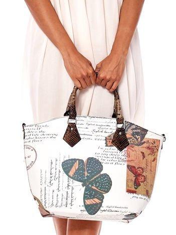 Biało-brązowa torba z nadrukami