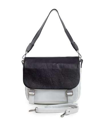 Biało-czarna torba damska z klapką