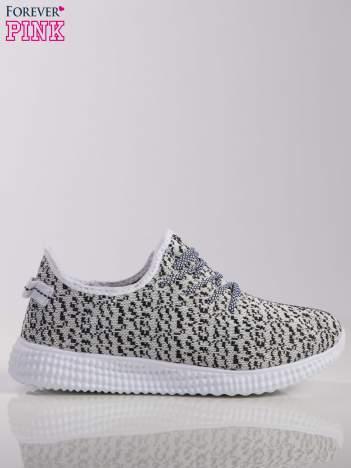 Biało-czarne marmurkowe buty sportowe pattern z tkaniny z uchwytem z tyłu na białej podeszwie