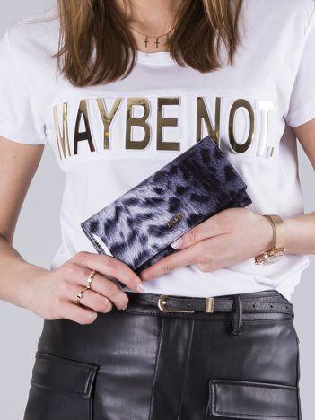 Biało-czarny lakierowany portfel ze skóry naturalnej
