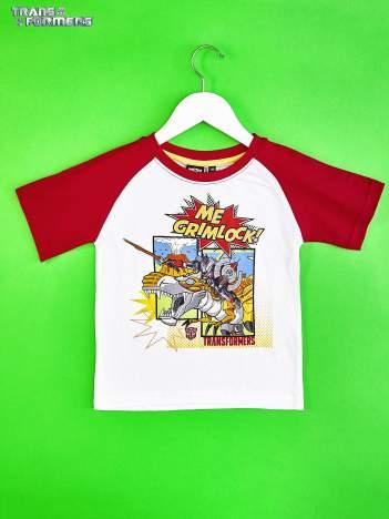 Biało-czerwony t-shirt chłopięcy z nadrukiem TRANSFORMERS