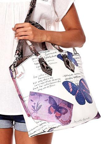 Biało-fioletowa torba z nadrukami