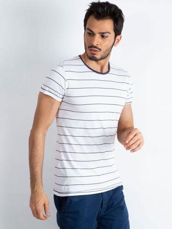 Biało-granatowa koszulka męska Foreign