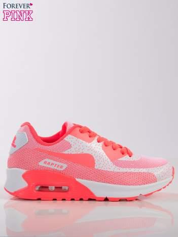 Biało-koralowe buty sportowe faux leather The Winner na poduszce powietrznej