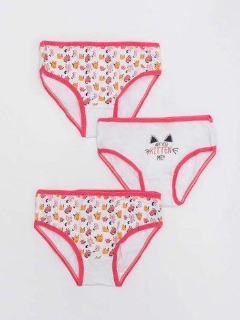 Biało-koralowe majtki dla dziewczynki 3-pak