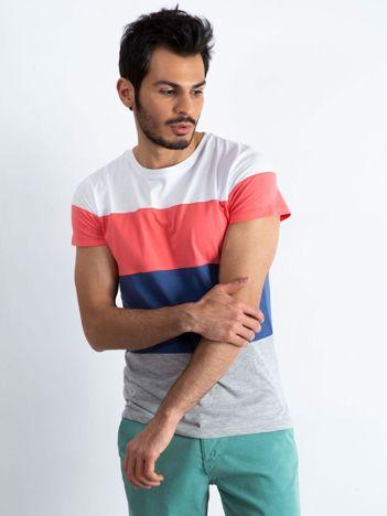 Biało-koralowy t-shirt męski Modify