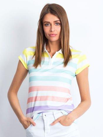 Biało-miętowa koszulka polo w kolorowe paski