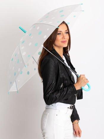 Biało-miętowa parasolka w grochy