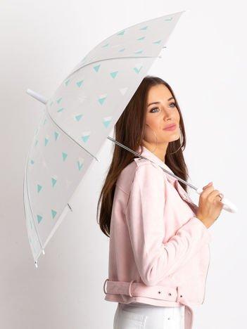 Biało-miętowy parasol we wzory