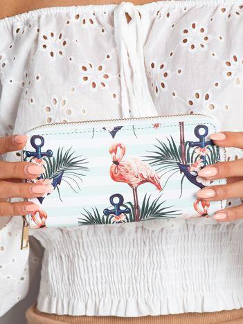 Biało-miętowy portfel z nadrukiem