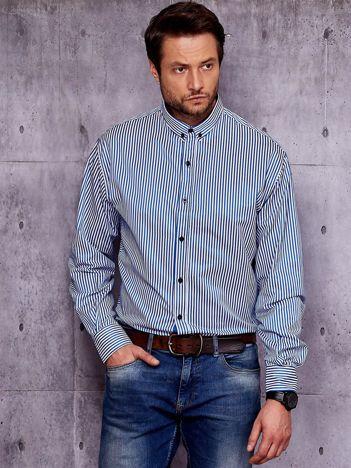 Biało-niebieska koszula męska w paski PLUS SIZE