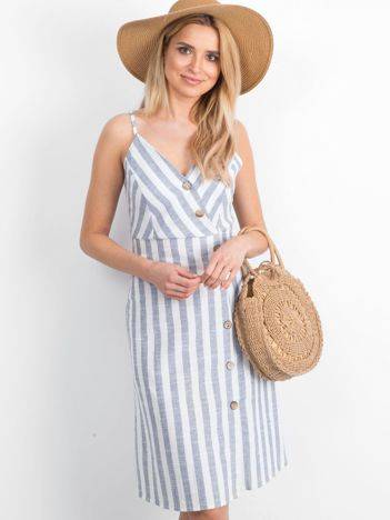 Biało-niebieska sukienka Dangling