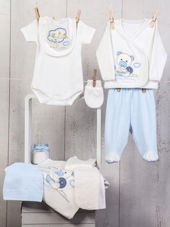 Biało-niebieski 10-elemenentowy 100% bawełniany zestaw startowy dla noworodka z haftem