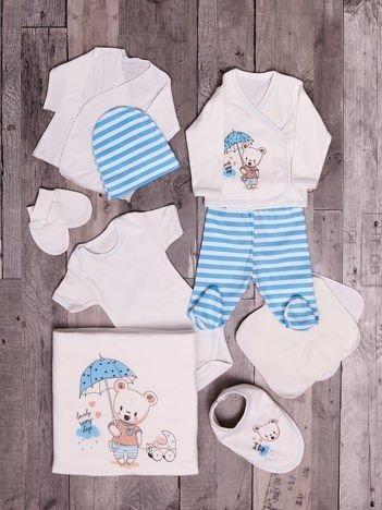 Biało-niebieski 10-elementowy bawełniany zestaw startowy wyprawka dla noworodka z wesołym nadrukiem