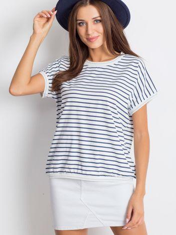 Biało-niebieski t-shirt Opulent