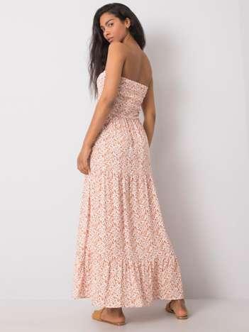 Biało-pomarańczowa sukienka maxi we wzory Lea FRESH MADE