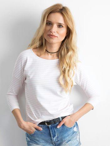 Biało-różowa bluzka damska w paski