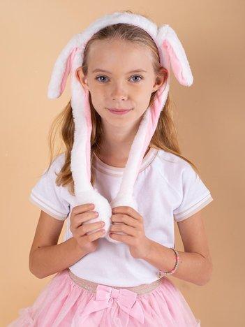 Biało-różowa pluszowa opaska