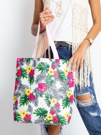 Biało-różowa torba w egzotyczne wzory