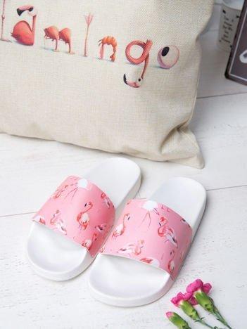 Biało-różowe klapki z ozdobnym nadrukiem w flamingi