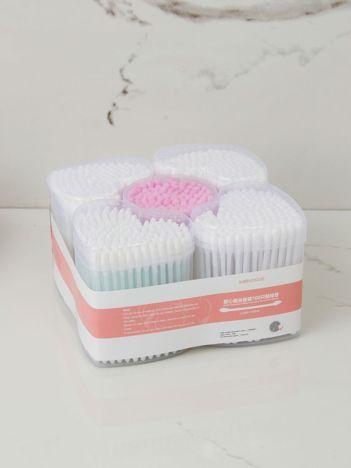 Biało-różowy zestaw patyczków kosmetycznych