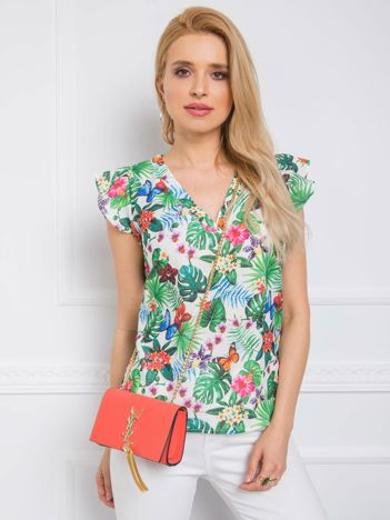 Biało-zielona bluzka Jungle RUE PARIS