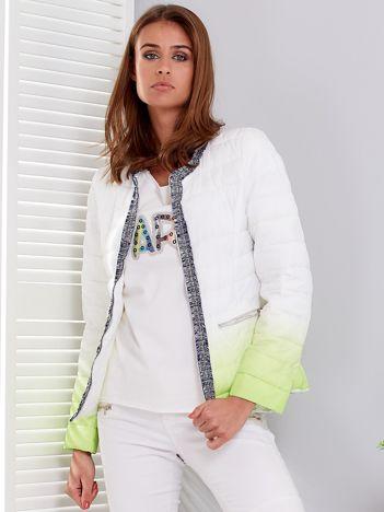 Biało-zielona pikowana kurtka ombre z ozdobnym wykończeniem
