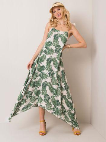 Biało-zielona sukienka Evvie