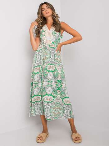 Biało-zielona wzorzysta sukienka Lylah