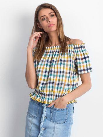 Biało-żółta hiszpanka w kolorową kratę