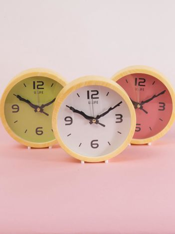 Biało-żółty okrągły zegarek biurkowy