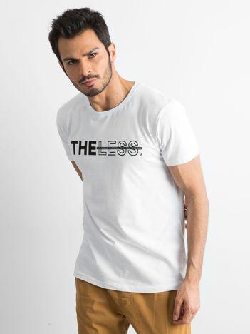 Biały bawełniany t-shirt męski z nadrukiem