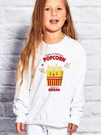 Biały bluza dziecięca z wesołym popcornem
