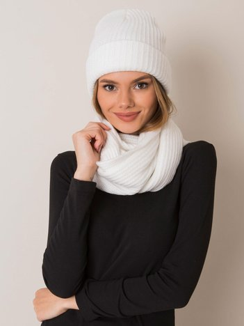 Biały komplet czapka i szalik RUE PARIS