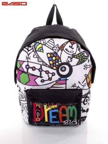 Biały plecak szkolny w komiksowe wzory