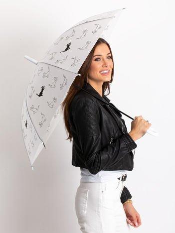 Biały półautomatyczny parasol z nadrukiem